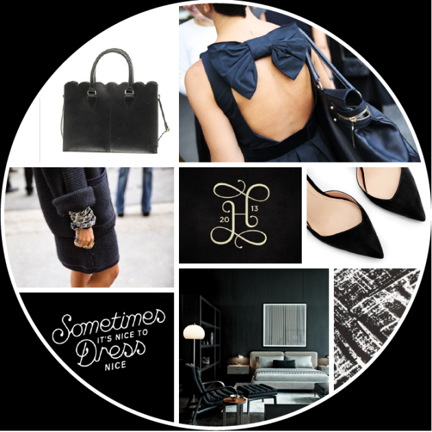 black moodboard on dotted design