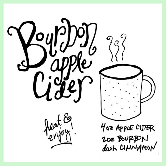Bourbon Apple Cider on dotted design